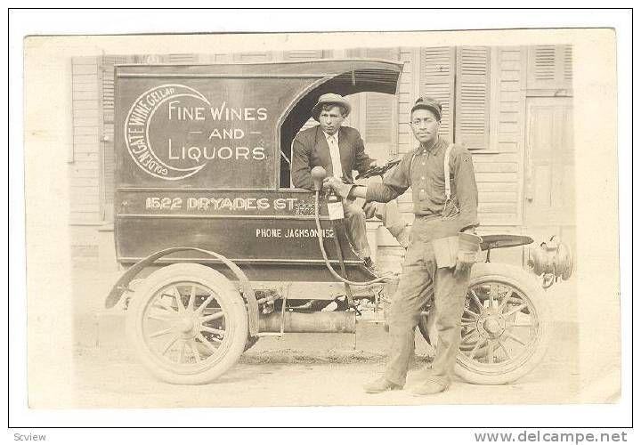 RP; Black man, Fine Wines & Liquor Delivery Truck , New Orleans , Louisiana , PU-1912 [RARE] Item number: 162508219  - Delcampe.com