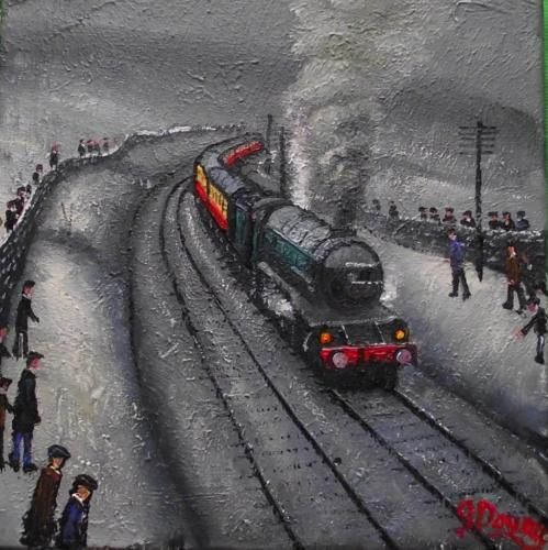Original-BEST-Oil-Painting-Noted-Artist-James-Downie-Sunday-Steam-Special