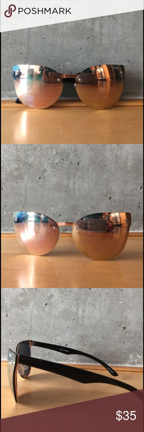 Quay Higher Love Rose Gold Sunglasses Lightweight rose gold sunnies featuring mirrored cat eye lenses, rimless design, adjustable nose pads and hidden glossy black rims and arms. 100% UV protection. Worn these once so in perfect condition. Quay Australia Accessories Sunglasses