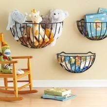 Hang Fruit baskets on the wall for extra toy storage #kids #storage #organization