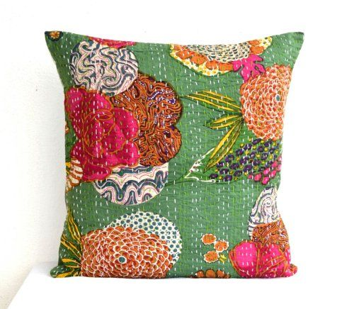 Decorative throw pillow covers in green with floral pattern- Kantha pillows- Handmade pillow covers- 16×16 pillow covers- Cotton decorative cushion covers- Toss pillows- Decorative pillows- Accent pillow cover- Gift pillows
