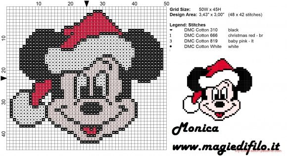 disney fab five christmas cross stitch | Christmas Mickey Mouse face cross stitch pattern (click to view)