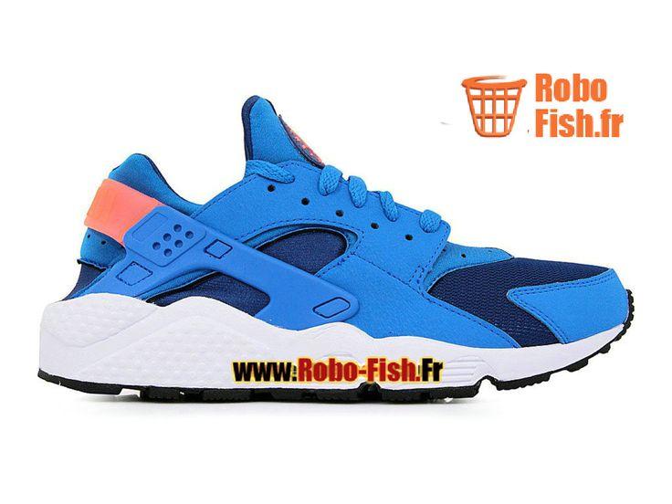 Nike Air Huarache GS - Chaussure Nike Sportswear Pas Cher Pour Femme/Enfant Bleu Gym/Bleu photo/Mangue éclatant/Blanc 318429-402G