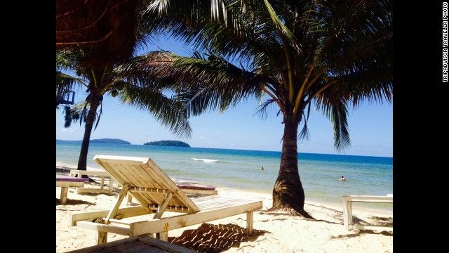 2. Sihanoukville, Cambodia: By day, snorkeling and diving are the water sports of choice at the Cambodian town of Sihanoukville. TripAdvisor reviewers recommend a visit to Ream National Park to see the tropical forest and Martini Beach for dining and a lovely sunset.