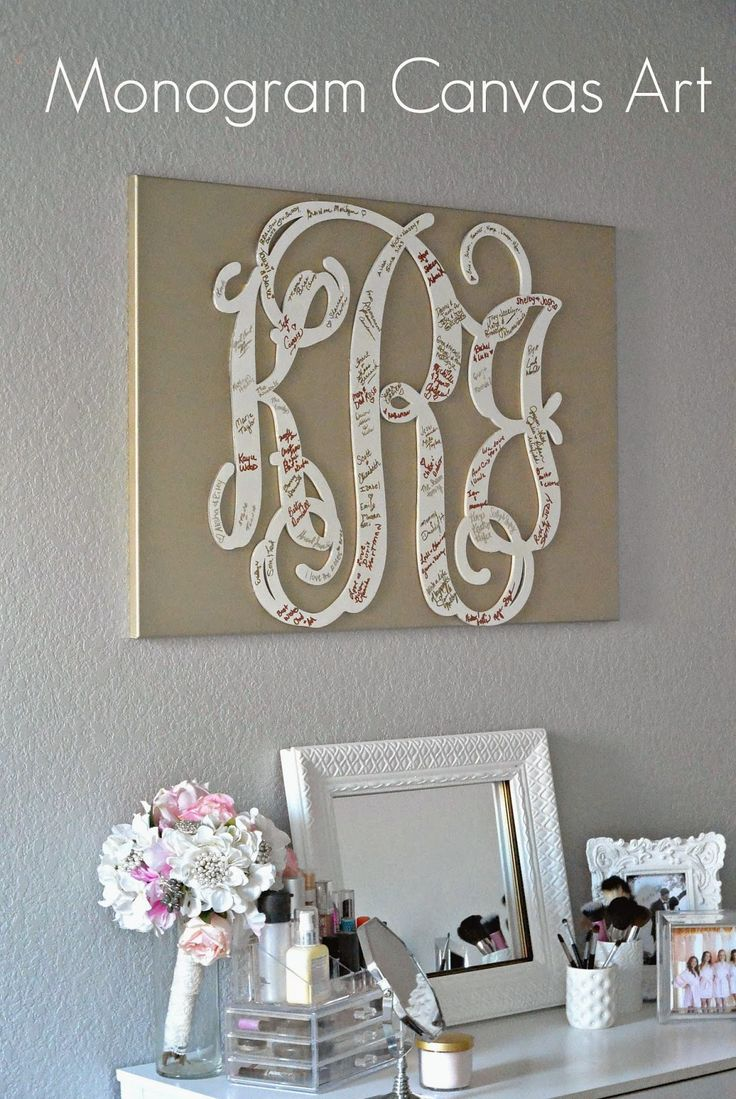 DIY Monogram art! A special addition to any room using a wood monogram and a large painted canvas!