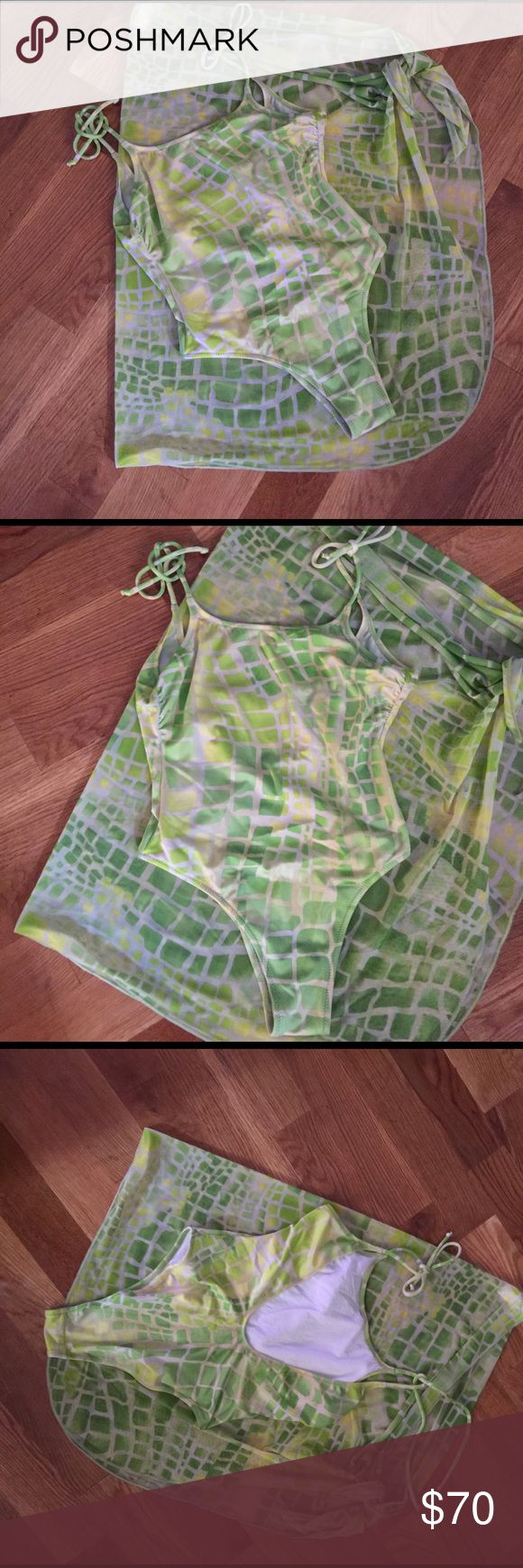 LA Perla one piece swimsuit and matching sarong 🌞 Summer is almost here🌞 Gorgeous Lime green one piece swimsuit and sarong by La Perla size 42 us 2-4 La Perla Swim One Pieces