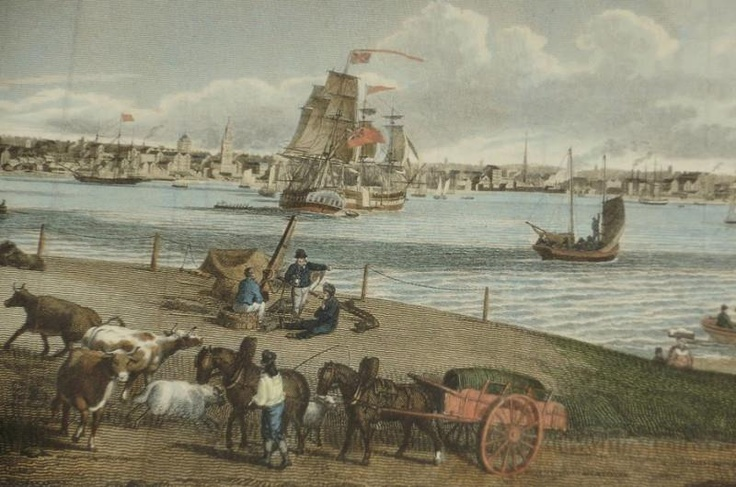 """View of Town & Harbour of Liverpool from Seacombe"" Seacombe ferry had been the object of litigation between the Rev. James Mainwaring and Richard Smith. For many years Mr Smith had leased the ferry to Thomas Parry who ran it in conjunction with the well-known Parry's Seacombe Hotel. The above painting shows a small ferry boat leaving Seacombe for Liverpool in 1816."
