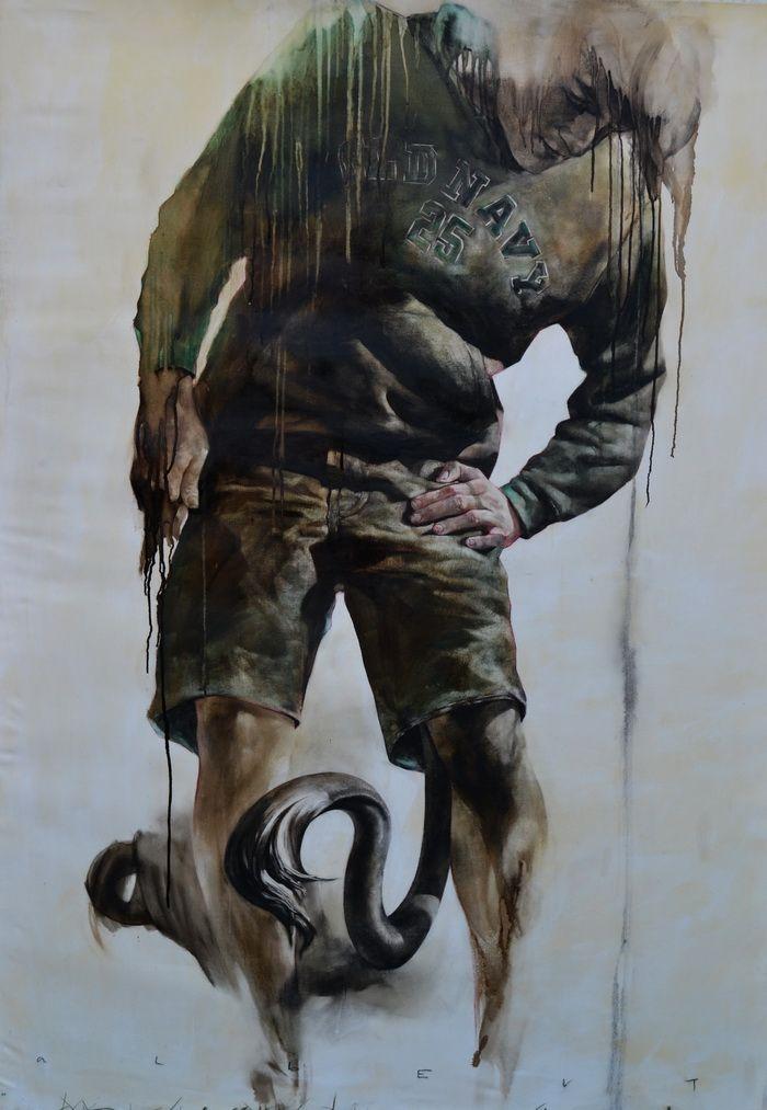 Sofian Albert,107x155, Desen in smoala si pastel uleios pe panza tratata manual, 2010