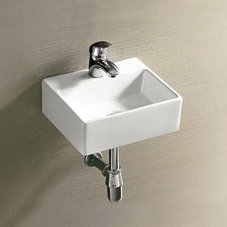 Could do with this in my downstairs loo. Cubetto Wall Hung Small Cloakroom Basin 1TH - 330 x 290mm
