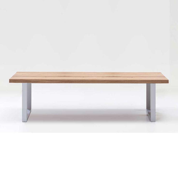 Elegant Holzbank Samplora aus Eiche Massivholz mit Eisen