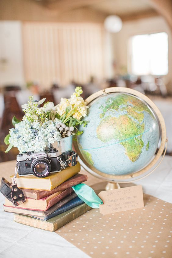 globe travel wedding centerpiece / http://www.deerpearlflowers.com/travel-themed-wedding-ideas-youll-want-to-steal/