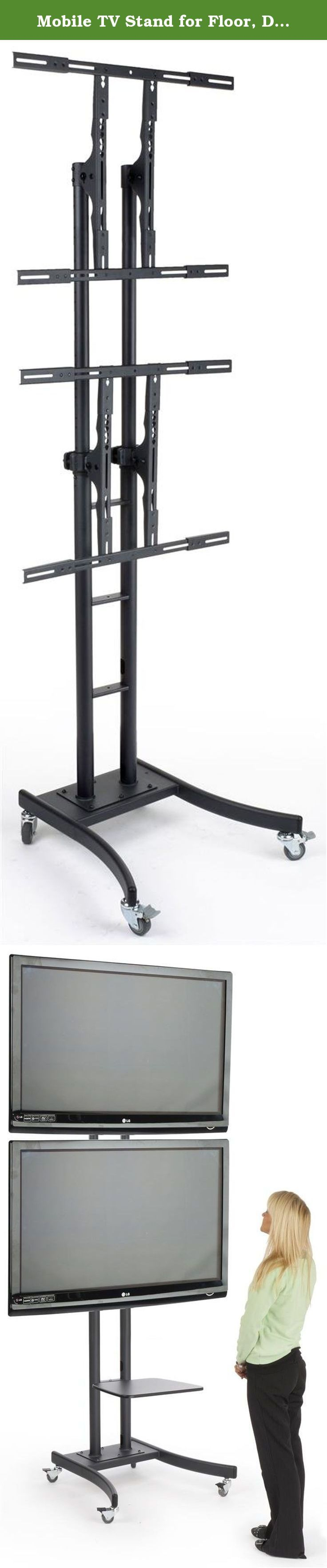 """Mobile TV Stand for Floor, Dual Monitor Mount for 32"""" to 65"""" Monitors. This mobile TV stand has 2 mounting brackets for display flat-screen monitors between 32"""" and 65"""" and up to 110 lbs. The floor-standing fixture for LCD televisions uses VESA mounting patterns to match most brand names and manufacturers' models. The brackets are compatible with the following: 200x200, 300x300, 400x200, 400x300, 400x400 and 600x400. This mobile TV stand is height-adjustable with its telescoping posts. In..."""