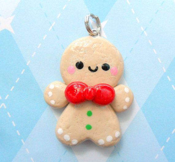 Kawaii Gingerbread Charm Polymer Clay Christmas Charm. $6.00, via Etsy.