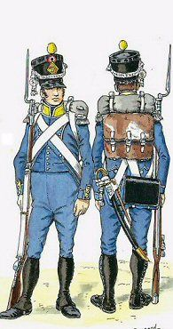 Chasseurs of  Regiment d'Isembourg 1810. Raised on 1st November 1805 it was initially recruited from prisonners of war captured in the cammpaign in Germany of that year. in 1809 it also recruited Portugese and Spanish POWs