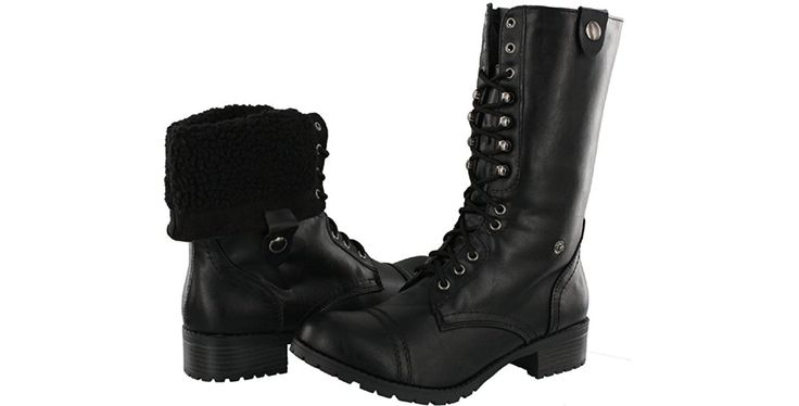 Soda Oral-S Women's Mid Calf Faux Fur Lined Combat Boots -- Visit the image link more details.