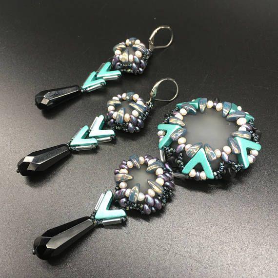 jewelry set UFO beaded pendant beaded necklace beaded