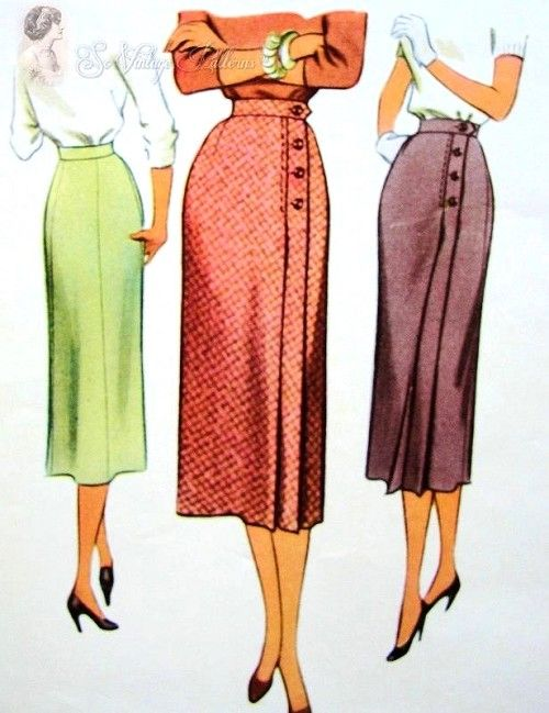 1950s Classy Front Wrap Around Slim Skirt McCall 9491 Vintage Sewing Pattern Beautiful Design Waist Size 24