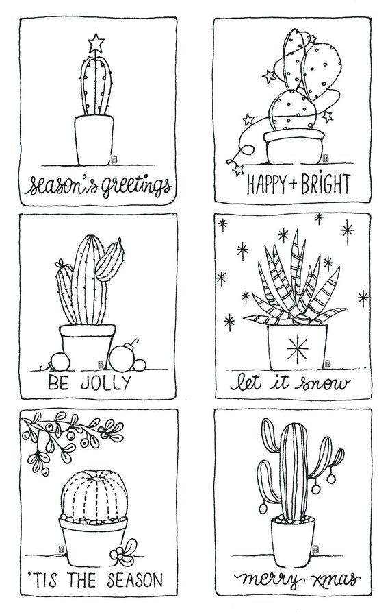 Printable Coloring Page Christmas Cactus Minis Cactus Drawing Christmas Drawing Christmas Calligraphy