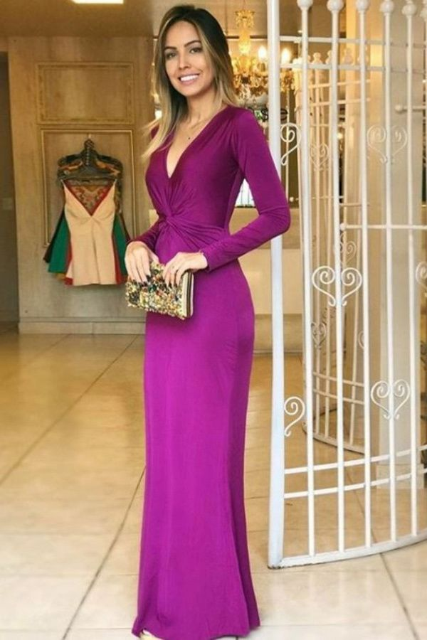 Mermaid Deep V-Neck Floor-Length Long Sleeves Grape Stretch Satin Prom Dress – 2019 Prom Dresses