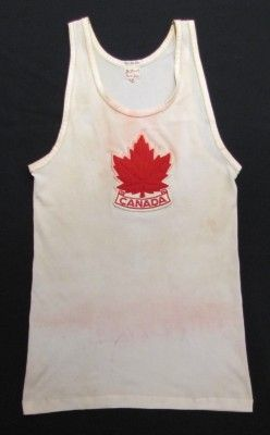 Joey Mullins' singlet, Rome 1960. Nova Scotia Sport Hall of Fame collection, Halifax