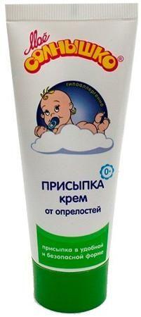 Мое Солнышко Присыпка-крем мое солнышко, 75 мл  — 88р. --------- Рекомендуемый возраст: 0мес-9лет Детская присыпка в форме крема, в отличие от обычной присыпки, не скатывается на коже и обеспечивает более комфортное и безопасное применение, исключающее попадание порошкообразного талька в дыхательные пути малыша