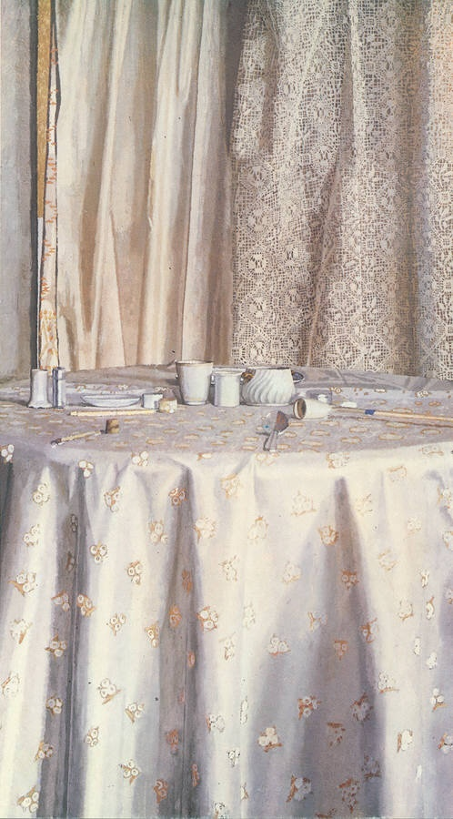Josep Roca-Sastre Lace curtain with still life, 64 inches ...