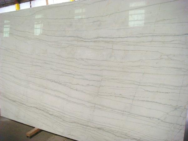White Macaubas Quartzite Slab In A Kitchen