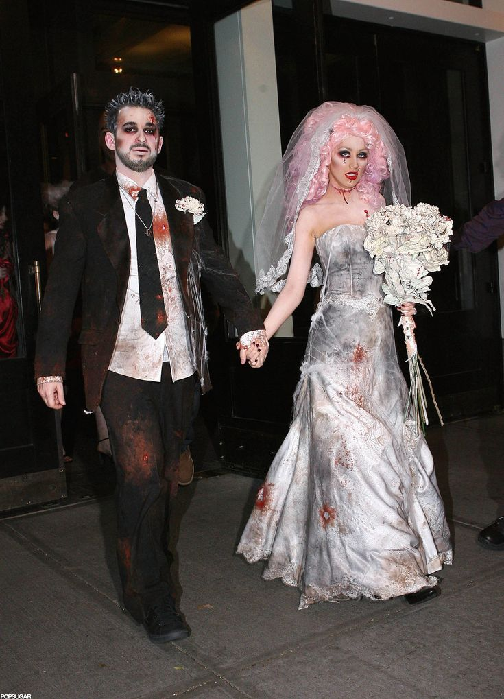 Christina Aguilera and Jordan Bratman as a Zombie Bride and Groom