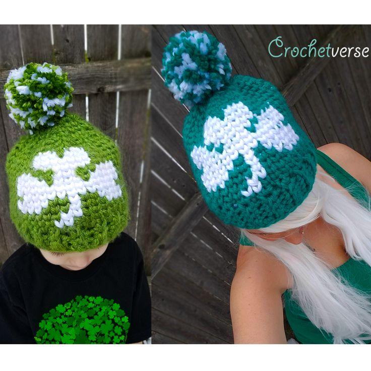 Free St. Patrick's Day Crochet Shamrock Hat - Crochetverse featuring the waistcoat stitch
