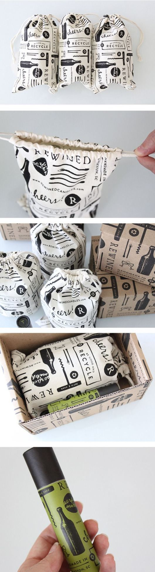 Rewined - beautiful soy candles in repurposed wine bottles in wine scents with beautiful packaging