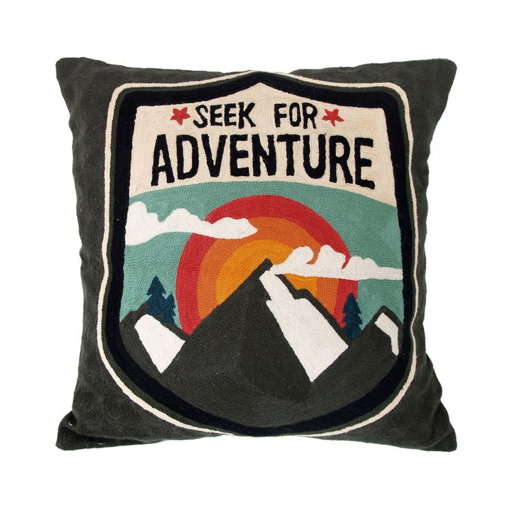 Seek for adventure - colourful pillow with handmade embroidered pattern
