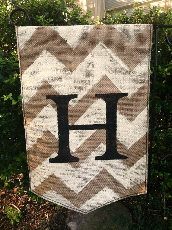 Burlap Garden Flag With Monogram And Chevron All Things