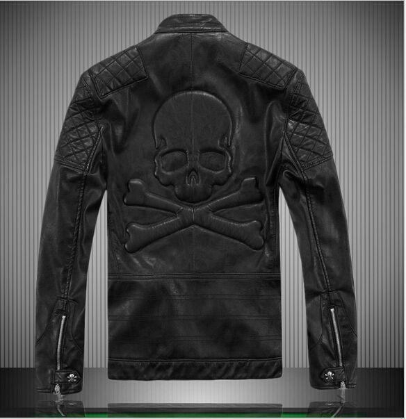 Cheap Punk del motociclista vestito casuale 2015 reale del cranio del motociclo genuino degli uomini giacca di pelle di marca famosa jaqueta couro mens cappotto uomo abbigliamento, Compro Qualità Cuoio & pelle scamosciata direttamente da fornitori della Cina: