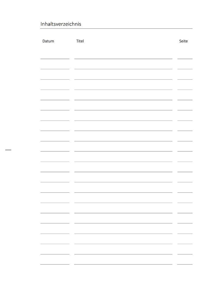 inhaltsverzeichnis vorlage zum ausdrucken für die schule