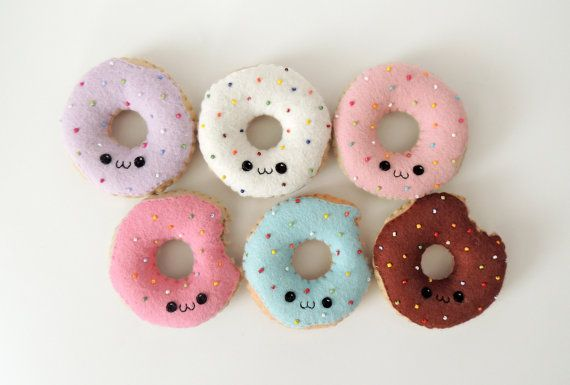 super cute doughnut plushie Felt Kawaii Donut Plush by feltpastel on Etsy