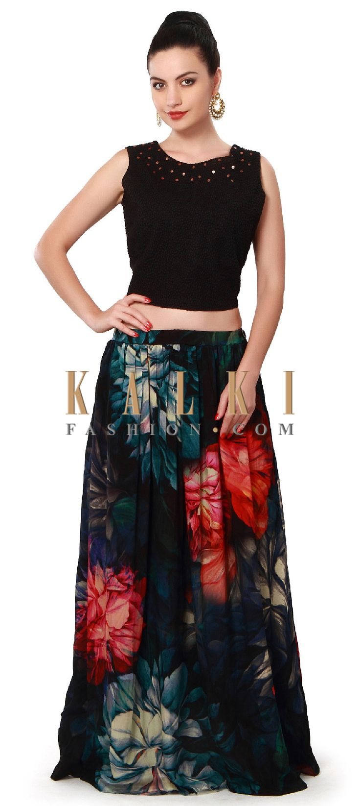 Buy Online from the link below. We ship worldwide (Free Shipping over US$100). Product SKU - 317494. Product Price - $119.00. Product link - http://www.kalkifashion.com/black-floral-skirt-matched-with-embroidered-crop-top-only-on-kalki.html