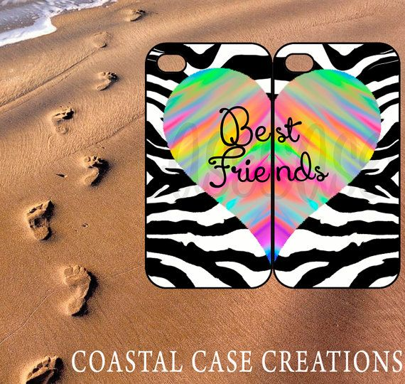 Best Friends Zebra Colorful Heart iPhone 4 4G 4S 5G Hard Plastic or Rubber Cell Phone Case Cover Original Trendy Stylish Design on Etsy, $28.45 CAD