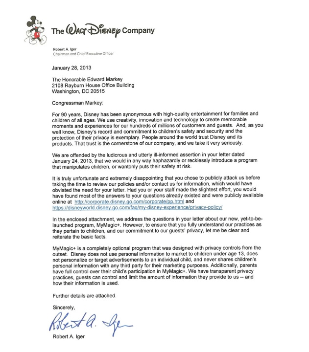 Disney Ceo Robert IgerS Letter To Rep Ed Markey Page   Iger
