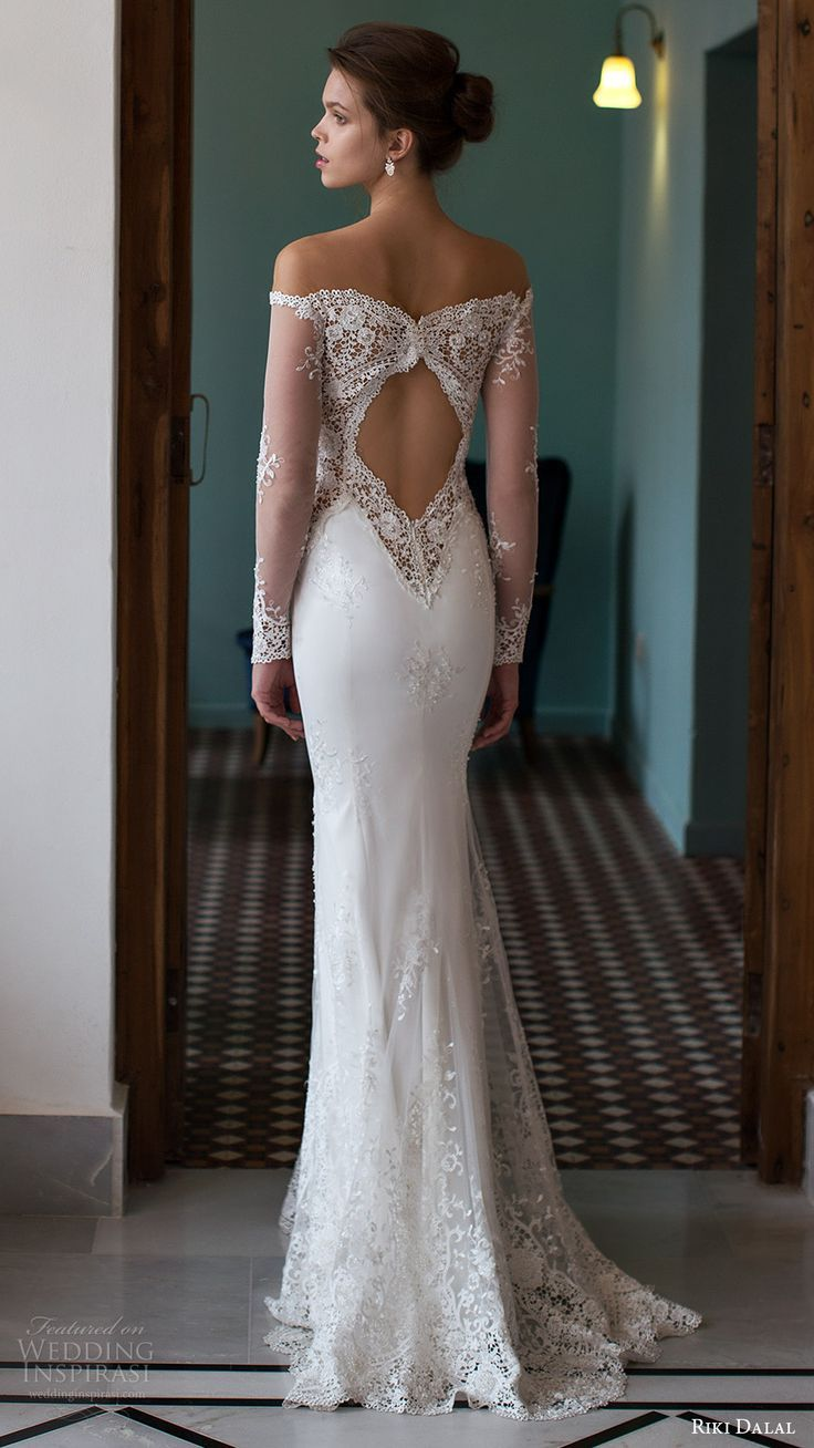 RIKI DALAL #bridal 2016 illusion long #sleeves off shoulder plunging #sweetheart…