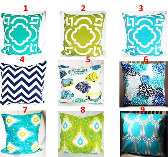 SALE OUTDOOR Pillow covers Turquoise blue Pillow cases,  green pillow, blue Pillows Decorative Pillows 18x18, 16X16, 14x14, 12x12, 10x10