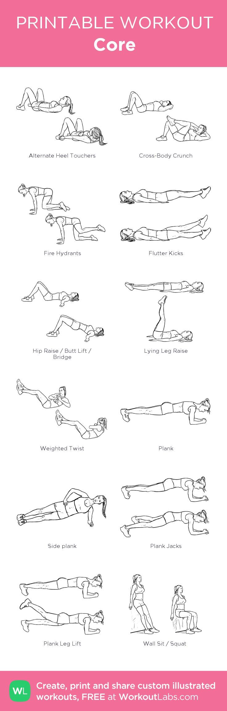 Core: my custom printable workout by @WorkoutLabs #workoutlabs #customworkout