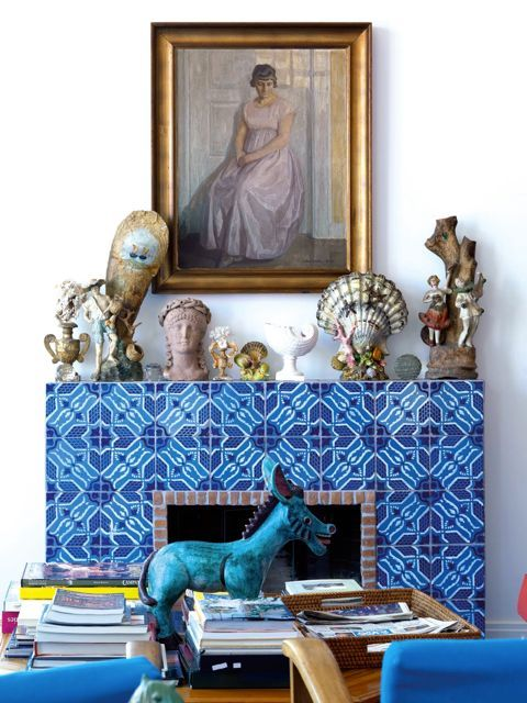 Moroccan tile fireplace.