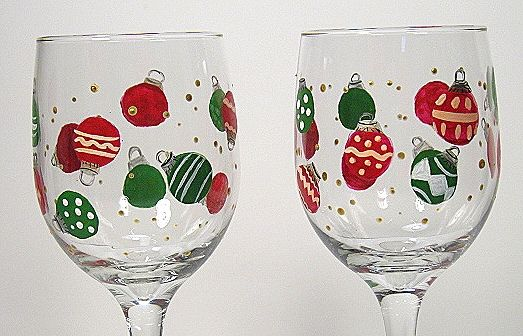 hand painted christmas wine glasses - Google Search