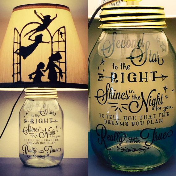 Peter Pan Inspired Silhouette Mason Jar Lamp por PracPerfCrafts