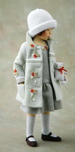 Maggie Iacono's doll: Lynn.  Inspiration for a felt jacket for some vintage dolls. Maggia Iacono really is so talented. You'd never realize the doll herself is all felt.