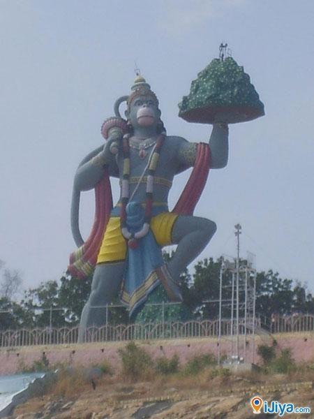 The giant  Hanuman Statue, Hill View Stadium, Puttaparthi, Andhra Pradesh, India Birth place of Shri Satya Sai Baba, Puttaparthi iJiya TAG :8236351