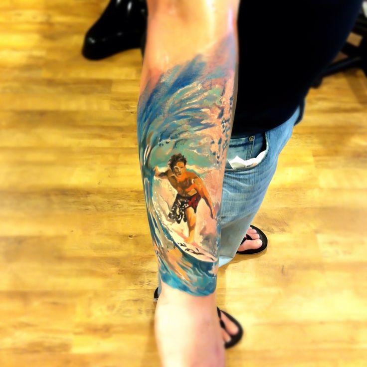 Surfer Tattoo  Artist: Radu Rusu @ Art & Soul Tattoo, Plumouth, UK  Realism