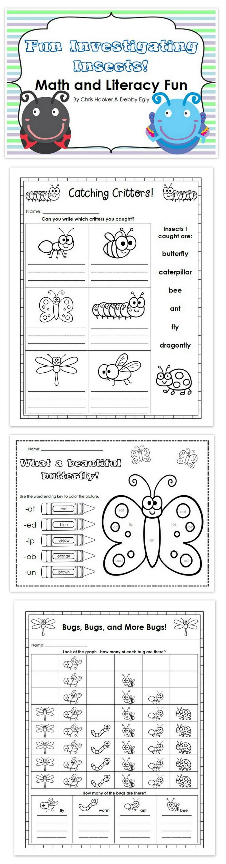 This easy-to-use pack of printables, craft ideas, and emergent readers has everything to help you through your teaching of an insects theme in kindergarten or first grade. This pack is divided into four folders for your convenience: emergent readers, math, literacy, and crafts. Each folder is packed with fun ideas for learners of all levels in your classroom!