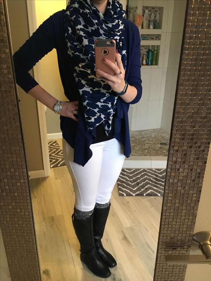 Blue swing cardigan, white jeans pants, black boots, black and white boot socks, black blue and white scarf