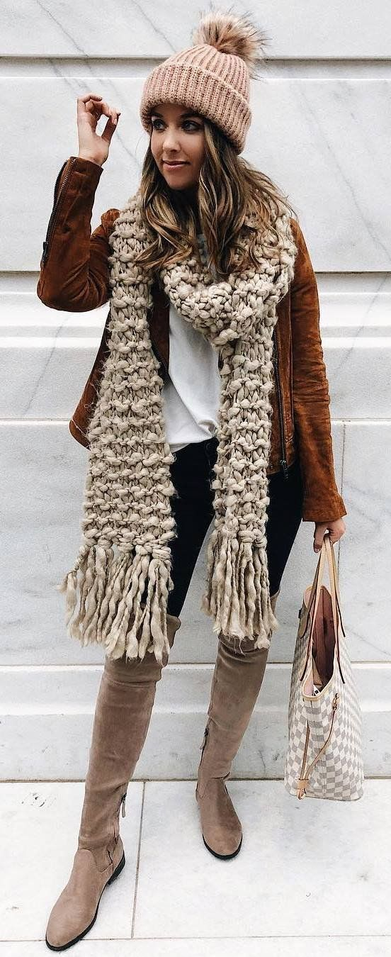 what to wear with a brown jacket hat + nude scarf + top + bag + skinnies + over knee boots